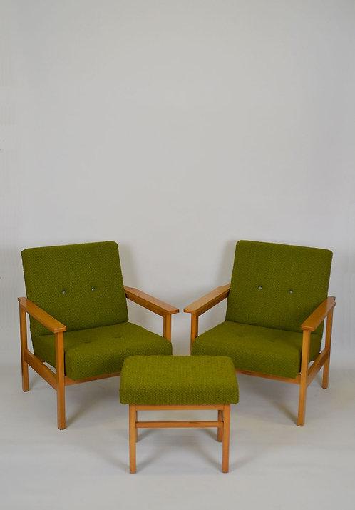 Set van 2 vintage zetels met voetbank, jaren '60