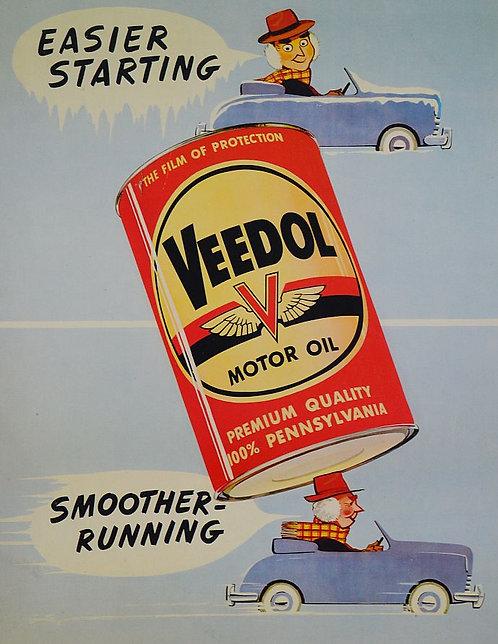 Amerikaans reclamebord in karton voor Veedol Motorolie, 1958