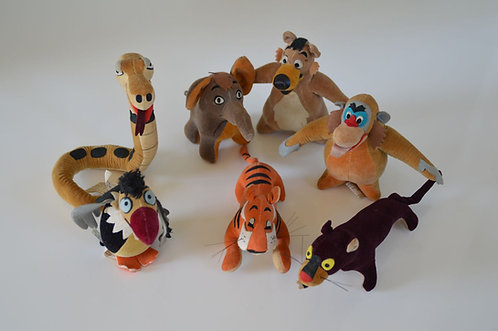 Complete set 7 vilten figuren van Disney's Jungle Book, 1966
