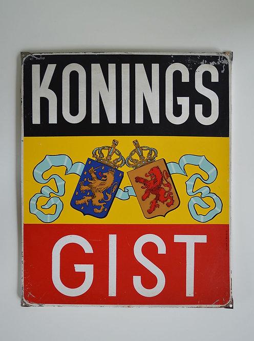 Metalen reclamebord Koningsgist, 1957
