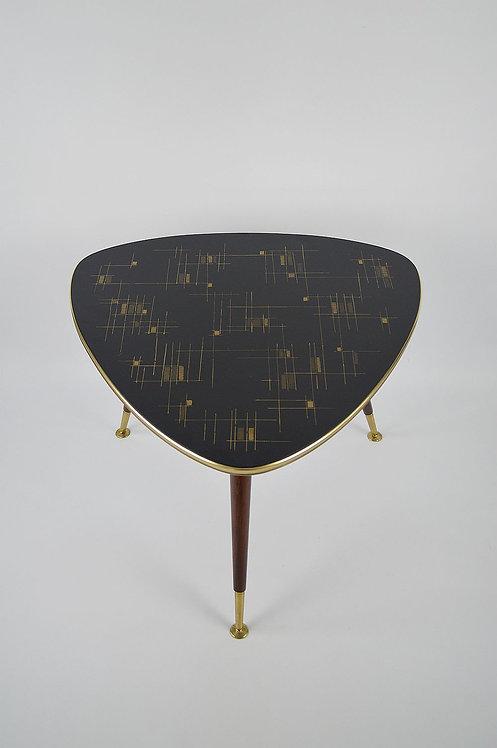 Plectrumvormige salontafel met prachtig bovenblad van Ilse Möbel, jaren '60