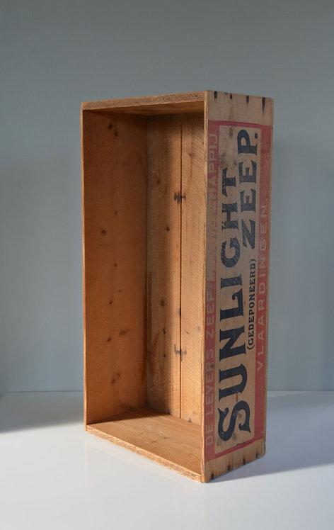 Antieke zeldzame houten kist Sunlight zeep Vlaardingen