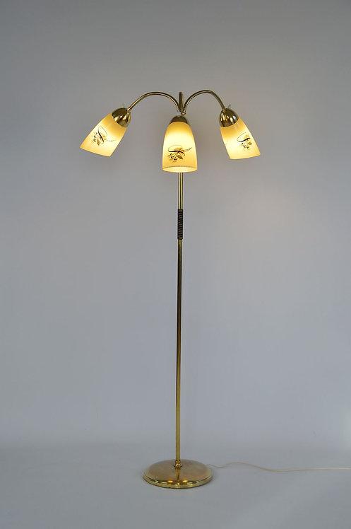Fifties vloerlamp met 3 glazen kappen