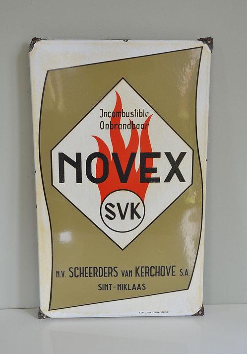 Emaille reclamebord voor Novex SVK, Emaillerie Koekelberg, 1958