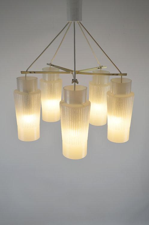 Vintage hanglamp met 5 lichtpunten in stervorm, jaren '70