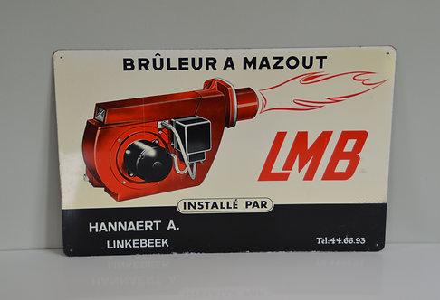 Vintage reclamebord in metaal voor LMB Mazoutbrander