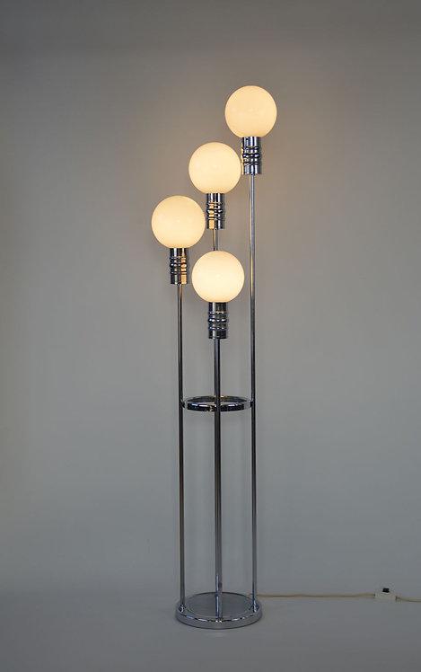 Vloerlamp in chroom en opaline van Solken Leuchten, jaren '70
