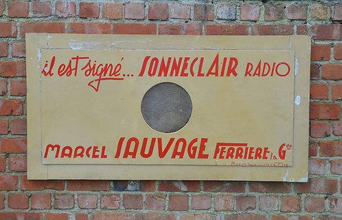 Uniek reclamebord voor Sonneclair radio, Frankrijk jaren '40