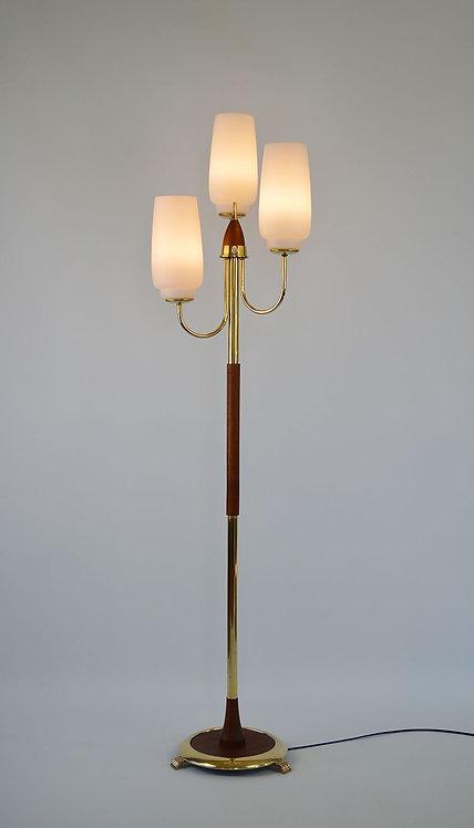 Scandinavische vloerlamp met 3 lichtpunten in melkglas
