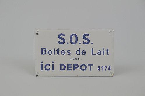Emaille bord voor hulporganisatie 'S.O.S. Boites de Lait', begin jaren '60