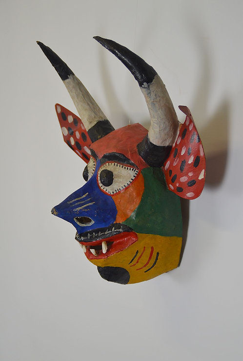 Antiek Mexicaans 'Diablo Mask' uit papier maché