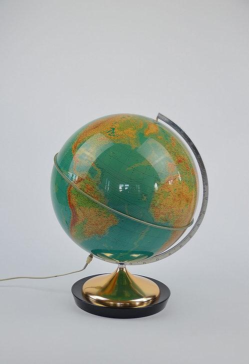 Grote wereldbol (132 cm omtrek) met verlichting en voet uit hout/metaal, 1969