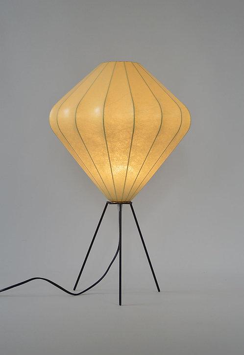 Prachtige cocoon tafellamp op metal tripod, jaren '60