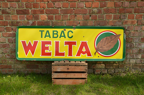Emaille reclamebord Tabac Welta, Emaillerie Belge, 1953
