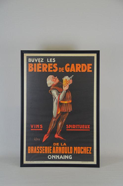Grote ingekaderde affiche van Bières de Garde, 1930