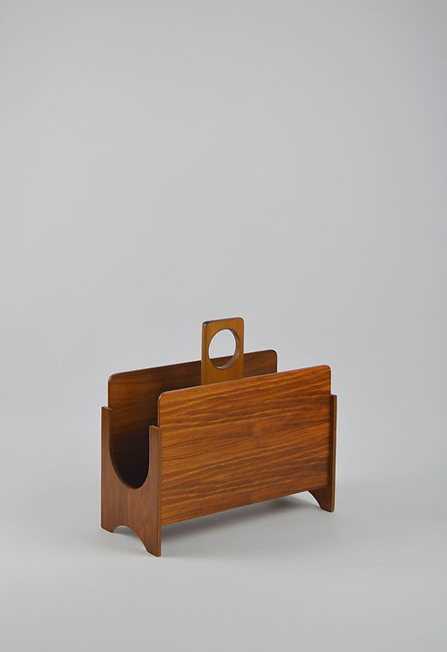 Stijlvolle Scandinavische magazinehouder in hout, jaren '60