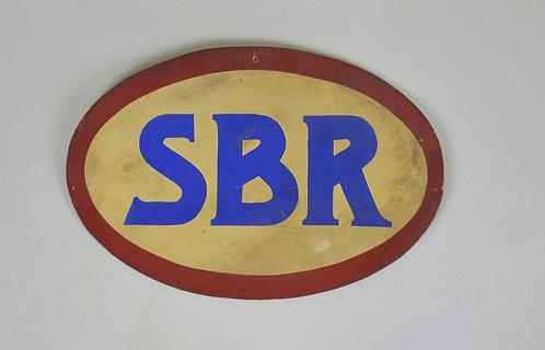 Antiek houten reclamebord voor SBR radio