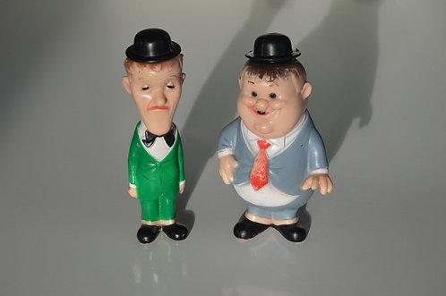 Vintage Laurel en Hardy piepers, Ledraplastic, 1962