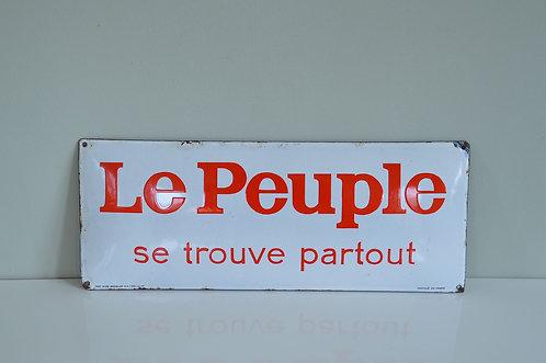 Gebombeerd reclamebord in emaille voor de krant 'Le Peuple', 1946