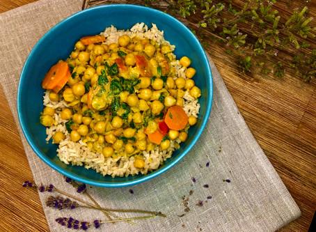 Chana Masala (Kichererbsen-Curry) mit Reis
