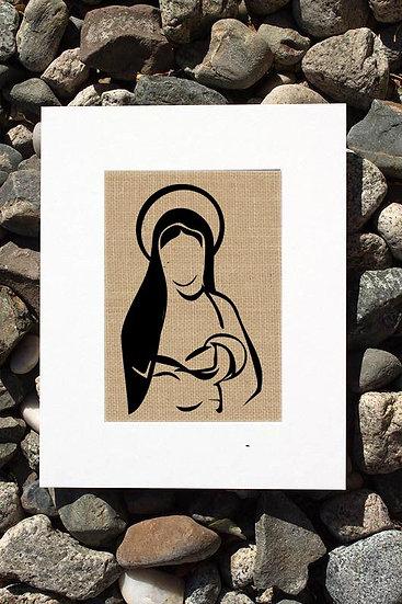 Mary and Baby Jesus Burlap Print