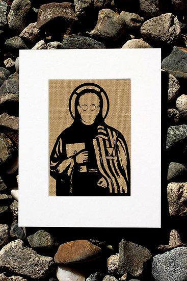 St. Maximilian Kolbe Burlap Print