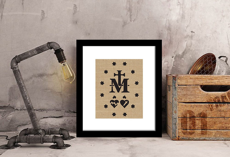 The Miraculous Medal Symbol Framed Burlap Print