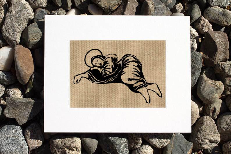 Sleeping St. Joseph Burlap Print