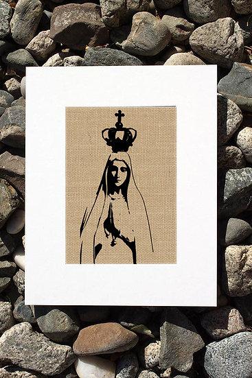 Our Lady of Fatima Burlap Print