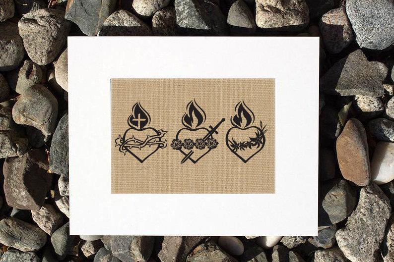 Holy Family Heart Burlap Print