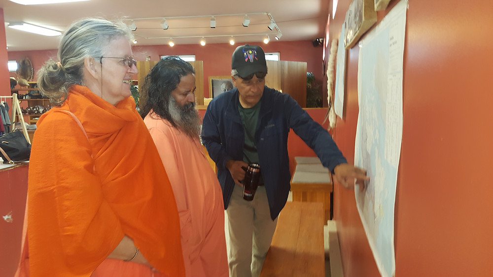 Guruji,Sampurnananda and Clayton at the CCIC (Cree Village Interpretive Centre)