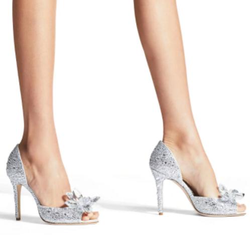 Peep Toe Diamond Cinderella Crystal
