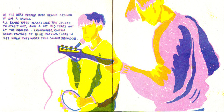 Spread from 3 colour risograph zine based on The Square, Harlow and exploring the decline of live music venues in the UK.