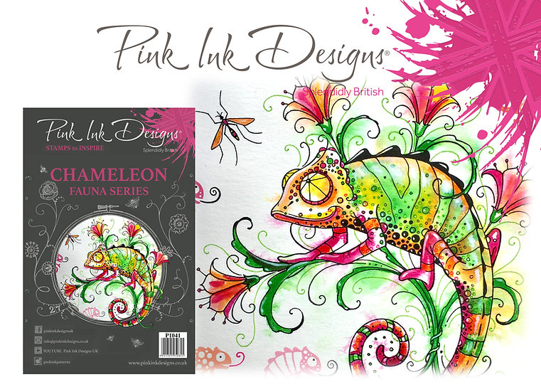 Pink Ink Designs Stamp - Chameleon - Plus Bonus Dinky Pinky Stamp
