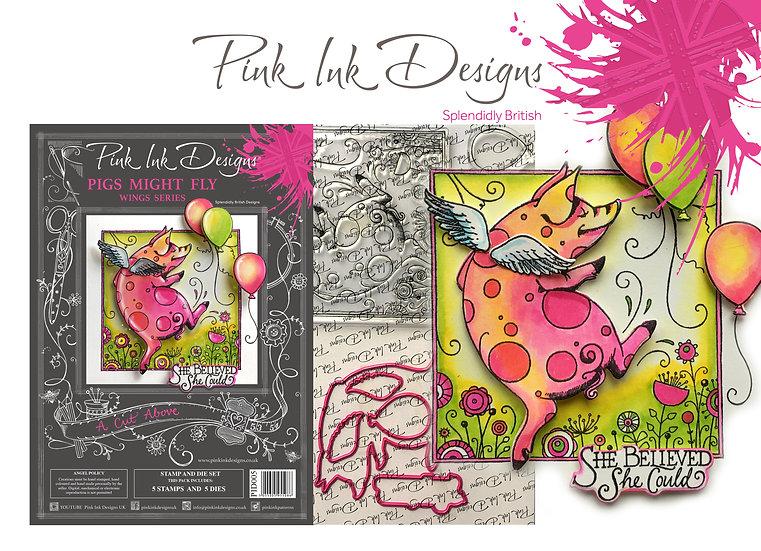 Pink Ink Designs Stamp and Die Set - Pigs Might Fly Plus Dinky Pinky Stamp