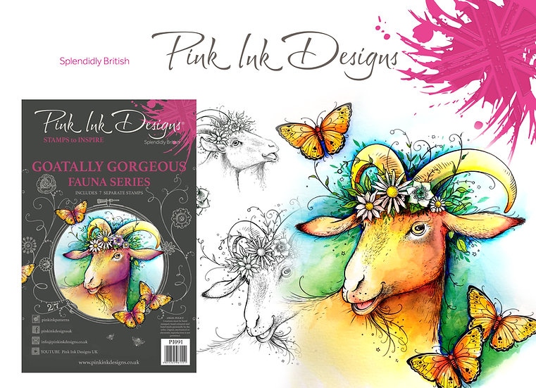 Pink Ink Designs Stamp - Goatally Gorgeous -  Plus Bonus BadgerStamp
