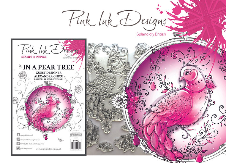 Pink Ink Designs - A5 stamp - In A Pear Tree - Partridge - Plus Bonus Paper