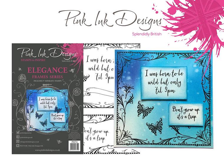 Pink Ink Designs Stamp - Frames - Elegance - Plus Bonus Dinky Pinky Stamp