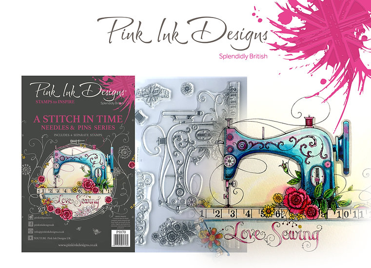 Pink Ink Designs Stamp - Sewing Machine - Love Sewing - Plus Bonus Paper