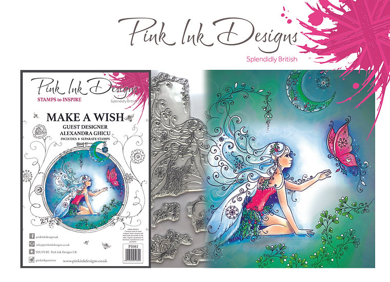Pink Ink Designs A5 stamp -  Make A Wish - Plus Bonus Dinky Pinky Stamp