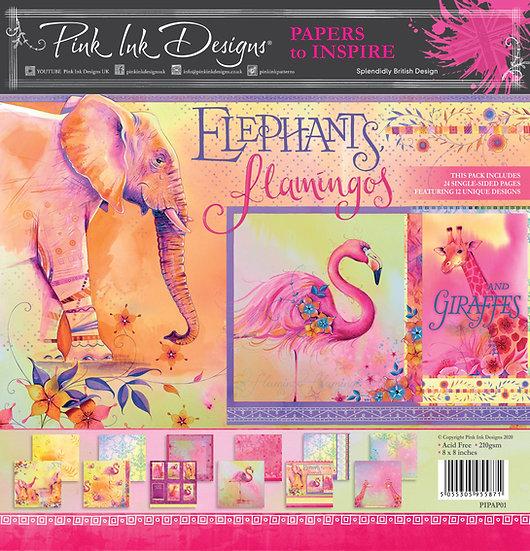 "Pink Ink Designs 8""x8"" Paper Pad - Elephant, Flamingos & Giraffes"