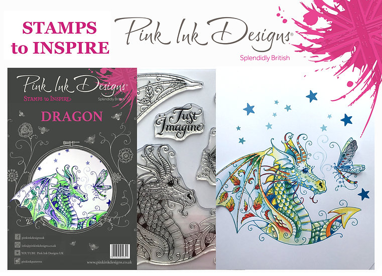 Pink Ink Designs Stamp - Dragon - Plus Bonus Dinky Pinky Stamp