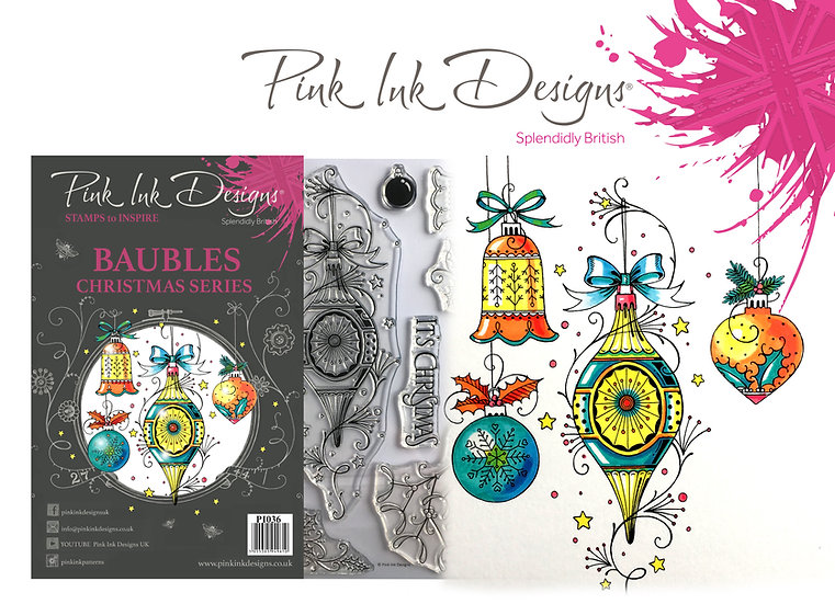 Pink Ink Designs Stamp - Baubles - Plus Bonus Paper