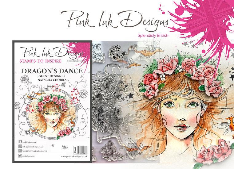 Pink Ink Designs Stamp - Dragon's Dance -  Plus Bonus Dinky Pinky Stamp