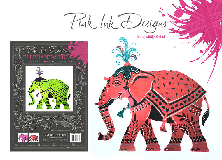 Pink Ink Designs Layered Stencil - Elephant