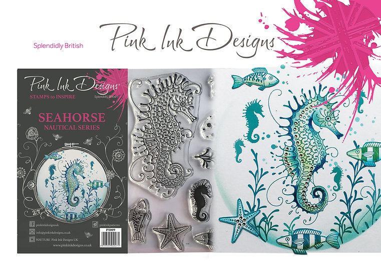 Pink Ink Designs Stamp - Seahorse  - Plus Bonus Paper