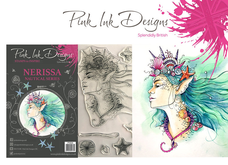 Pink Ink Designs Stamp - Mermaid Nerissa - Plus Bonus Dinky Pinky Stamp