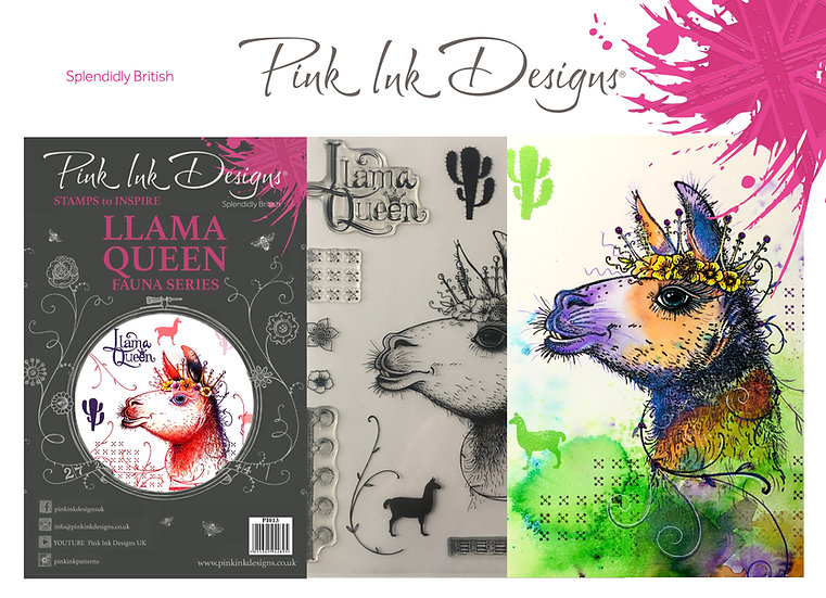 Pink Ink Designs Stamp - Llama Queen - Plus Bonus Dinky Pinky Stamp
