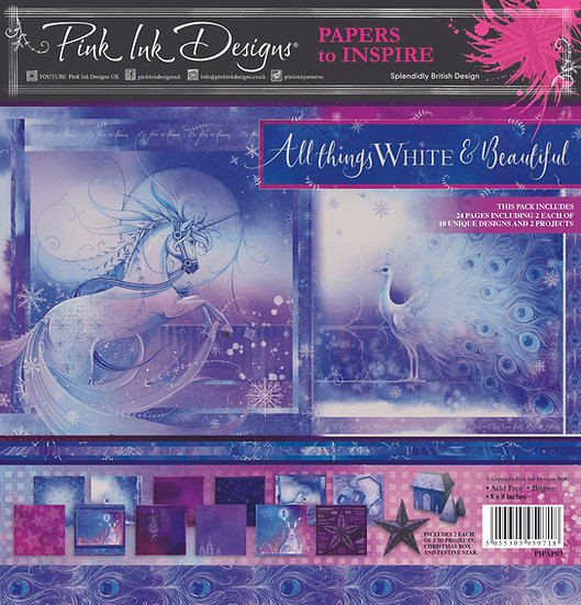 "Pink Ink Designs 8"" x 8"" paper pad - All Things White & Beautiful"
