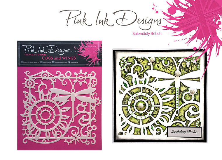 Pink Ink Designs Stencil - Cogs and Wings